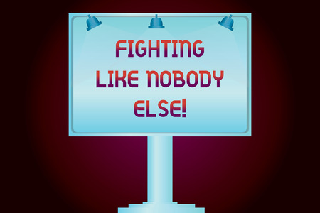 Conceptual hand writing showing Fighting Like Nobody Else. Business photo showcasing Fight for your rights motivated to win competition Blank Lamp Lighted Color Signage Outdoor Ads Mounted on Leg Stock Photo