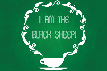 Handwriting text I Am The Black Sheep. Concept meaning Different from others original unique in a group Cup and Saucer with Paisley Design as Steam icon on Blank Watermarked Space Stock Photo