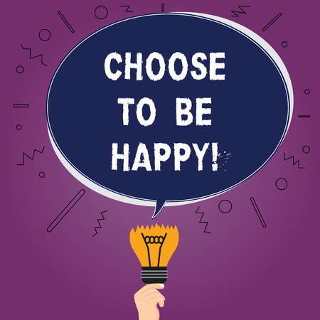 Text sign showing Choose To Be Happy. Conceptual photo Decide being in a good mood smiley cheerful glad enjoy Blank Oval Color Speech Bubble Above a Broken Bulb with Failed Idea icon Stok Fotoğraf - 114317640