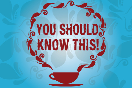 Writing note showing You Should Know This. Business photo showcasing Recommendation be informed aware of new events Cup and Saucer with Paisley Design on Blank Watermarked Space