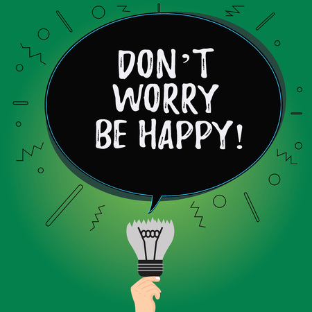 Text sign showing Don T Worry Be Happy. Conceptual photo Cheerful be positive relaxed inspired motivated Blank Oval Color Speech Bubble Above a Broken Bulb with Failed Idea icon Stok Fotoğraf - 114317678