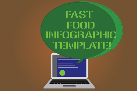 Writing note showing Fast Food Infographic Template. Business photo showcasing Design diagrams for give information Certificate Layout on Laptop Screen and Halftone Speech Bubble