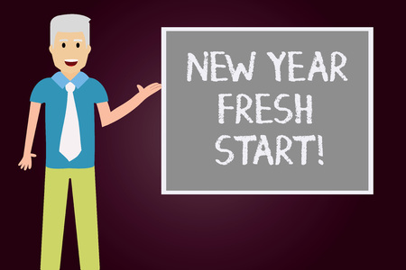 Conceptual hand writing showing New Year Fresh Start. Business photo text Motivation inspiration 365 days full of opportunities Man with Tie Talking Presenting Blank Color Square Board