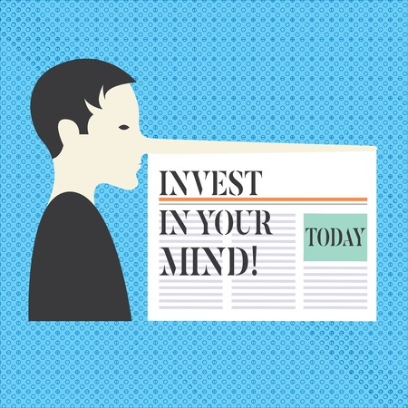 Conceptual hand writing showing Invest In Your Mind. Business photo text Get new knowledge more education improve yourself Man with a Long Nose like Pinocchio a Newspaper is attached Imagens
