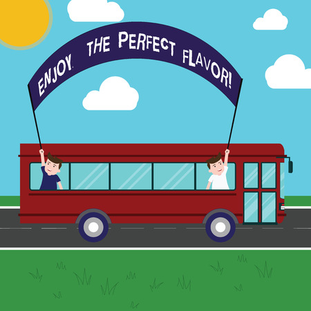 Text sign showing Enjoy The Perfect Flavor. Conceptual photo Taste the food or beverage and be pleased Two Kids Inside School Bus Holding Out Banner with Stick on a Day Trip 스톡 콘텐츠