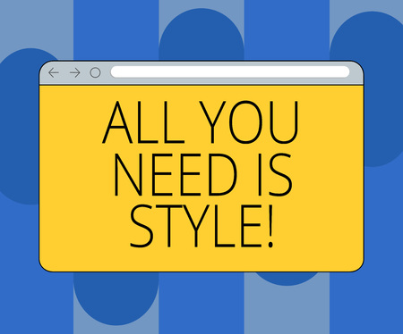 Handwriting text All You Need Is Style. Concept meaning be more stylish new fashion look motivation innovation Monitor Screen with Forward Backward Progress Control Bar Blank Text Space Stock Photo