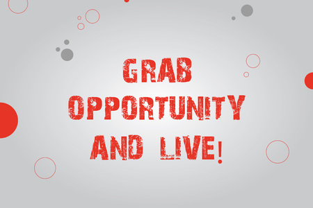 Text sign showing Grab Opportunity And Live. Conceptual photo Take the chances achieve your goals motivation Blank Rectangle with Round Light Beam in Center and Various Size Circles