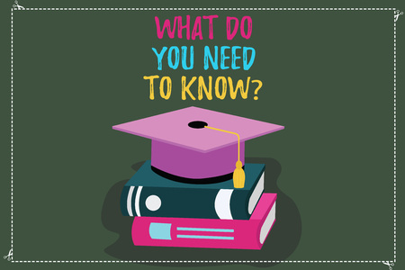 Conceptual hand writing showing What Do You Need To Knowquestion. Business photo text Tell us things for learning Knowledge Color Graduation Hat with Tassel 3D Academic cap on Books