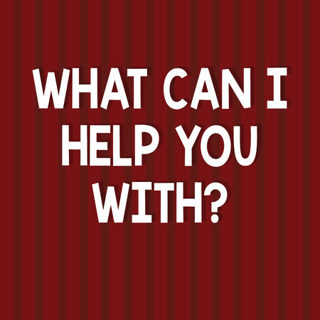 Text sign showing What Can I Help You Withquestion. Conceptual photo Offering support assistance guidance Seamless Vertical Straight Lines Two Tone Stripes in Blank Square photo