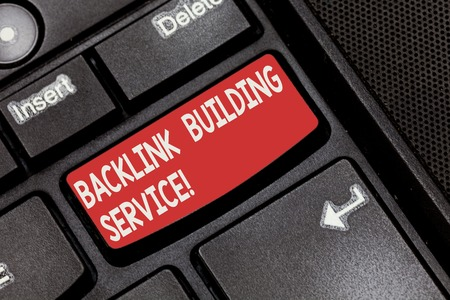Conceptual hand writing showing Backlink Building Service. Business photo showcasing Increase backlink by exchanging links with other Keyboard key Intention to create computer message idea