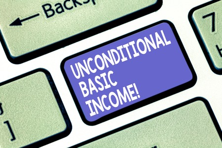 Word writing text Unconditional Basic Income. Business concept for paid income without a requirement to work Keyboard key Intention to create computer message pressing keypad idea Stock fotó