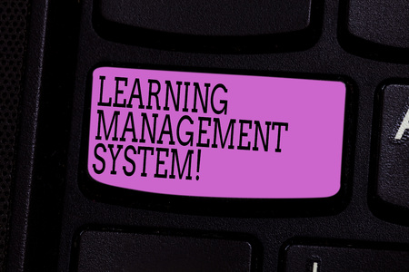 Word writing text Learning Management System. Business concept for software application that is used to administer Keyboard key Intention to create computer message pressing keypad idea