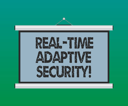 Handwriting text Real Time Adaptive Security. Concept meaning accommodate the emergence of multiple perimeters Blank Portable Wall Hanged Projection Screen for Conference Presentation