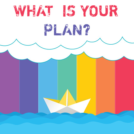 Conceptual hand writing showing What Is Your Plan. Business photo showcasing Show us your schedule strategies to accomplish goals Wave Heavy Clouds and Paper Boat Seascape Scene Copy Space