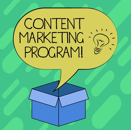 Conceptual hand writing showing Content Marketing Program. Business photo showcasing strategic method of delivering valuable brand Idea icon in Blank Halftone Speech Bubble Over Carton Box