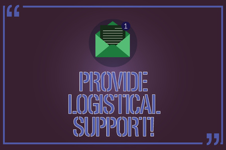 Text sign showing Provide Logistical Support. Conceptual photo Procurement and distribution of equipment Open Envelope with Paper New Email Message inside Quotation Mark Outline