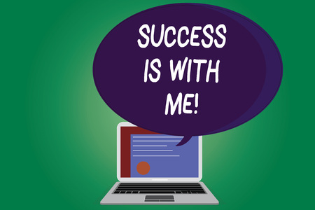 Text sign showing Success Is With Me. Conceptual photo Be optimistic pursue of good results successful Certificate Layout on Laptop Screen and Blank Halftone Color Speech Bubble Stok Fotoğraf - 114448106