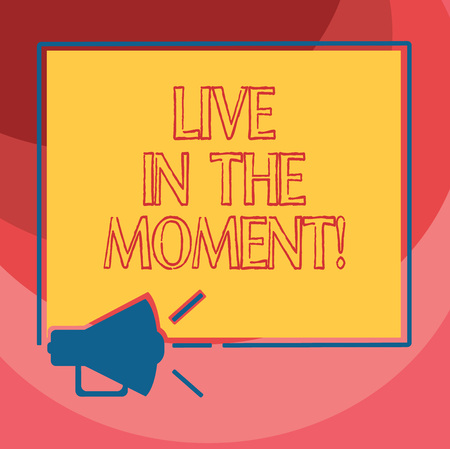 Text sign showing Live In The Moment. Conceptual photo Be inspired motivated enjoy today happy moments Megaphone Sound icon Outlines Blank Square Loudspeaker Text Space photo Stock Photo