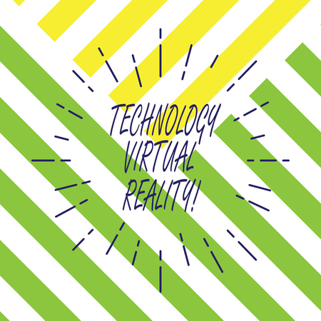 Text sign showing Technology Virtual Reality. Conceptual photo interactive computergenerated experience Thin Beam Lines Spreading out Dash of Sunburst Radiating on Diagonal Strips