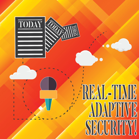 Handwriting text Real Time Adaptive Security. Concept meaning accommodate the emergence of multiple perimeters Information and Documents Passing thru Cloud Hosting Fast delivery of Data 写真素材