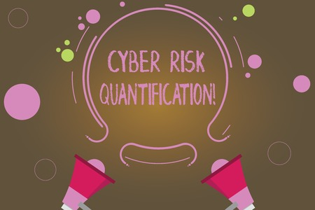 Text sign showing Cyber Risk Quantification. Conceptual photo maintain an acceptable level of loss exposure Two Megaphone and Circular Outline with Small Circles on Color Background