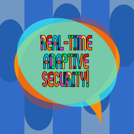Conceptual hand writing showing Real Time Adaptive Security. Business photo showcasing accommodate the emergence of multiple perimeters Speech Bubble and Stack of Transparent Circle Overlapping