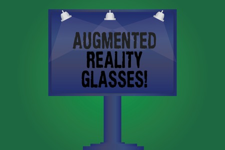 Handwriting text writing Augmented Reality Glasses. Concept meaning Digital eye glasses Personal imaging system Blank Lamp Lighted Color Signage Outdoor Ads photo Mounted on One Leg