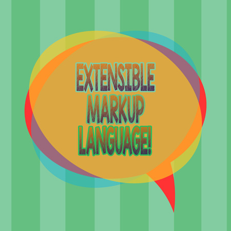 Word writing text Extensible Markup Language. Business concept for computer language that use tag to define element Blank Speech Bubble photo and Stack of Transparent Circle Overlapping Stok Fotoğraf