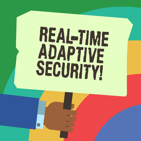 Handwriting text writing Real Time Adaptive Security. Concept meaning accommodate the emergence of multiple perimeters Hu analysis Hand Holding Blank Colored Placard with Stick photo Text Space
