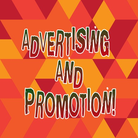 Word writing text Advertising And Promotion. Business concept for Actions to stimulate customers to buy right now Stained Glass Effect photo Geometric Shape Blank Copy Space for Poster Ads