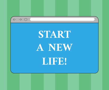 Handwriting text writing Start A New Life. Concept meaning Change your habits be different changing direction Monitor Screen with Forward Backward Progress Control Bar Blank Text Space Imagens