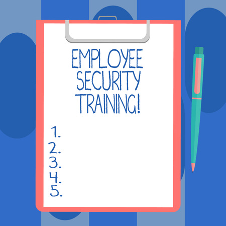 Handwriting text writing Employee Security Training. Concept meaning Educating employees about computer security Blank Sheet of Bond Paper on Clipboard with Click Ballpoint Pen Text Space 版權商用圖片