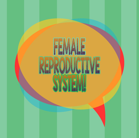 Word writing text Female Reproductive System. Business concept for responsible in reproduction of new offspring Blank Speech Bubble photo and Stack of Transparent Circle Overlapping