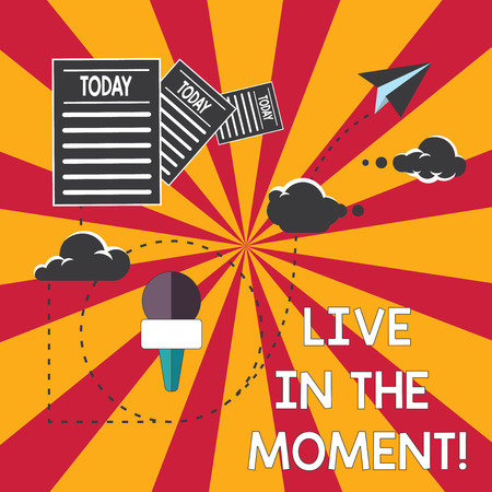 Conceptual hand writing showing Live In The Moment. Business photo showcasing Be inspired motivated enjoy today happy moments Information Passing thru Cloud Hosting Fast delivery of Data