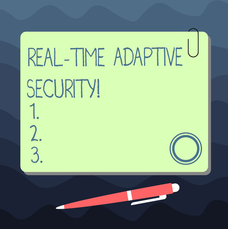 Text sign showing Real Time Adaptive Security. Conceptual photo accommodate the emergence of multiple perimeters Blank Square Color Board with Magnet Click Ballpoint Pen Pushpin and Clip