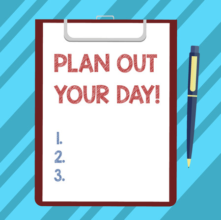 Text sign showing Plan Out Your Day. Conceptual photo Make an schedule of activities to do everyday be organized Blank Sheet of Bond Paper on Clipboard with Click Ballpoint Pen Text Space 写真素材