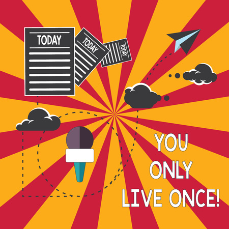 Conceptual hand writing showing You Only Live Once. Business photo showcasing Seize the day and be happy motivated enjoy life Information Passing thru Cloud Hosting Fast delivery of Data