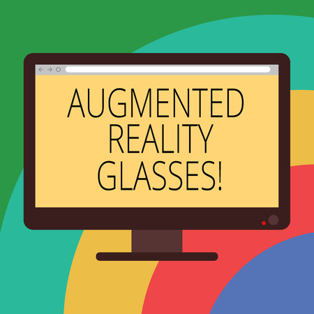 Conceptual hand writing showing Augmented Reality Glasses. Business photo showcasing Digital eye glasses Personal imaging system Computer Monitor Color Screen Mounted with Progress Bar Stock Photo - 114479339