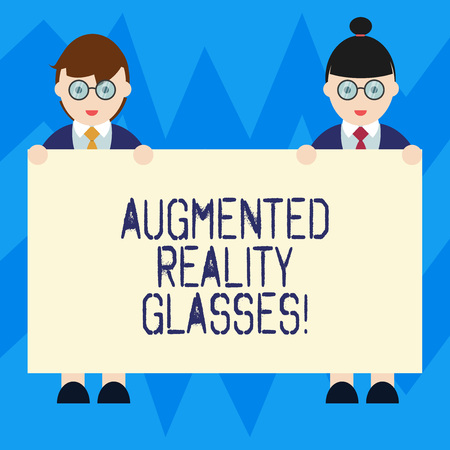 Text sign showing Augmented Reality Glasses. Conceptual photo Digital eye glasses Personal imaging system Male and Female in Uniform Standing Holding Blank Placard Banner Text Space