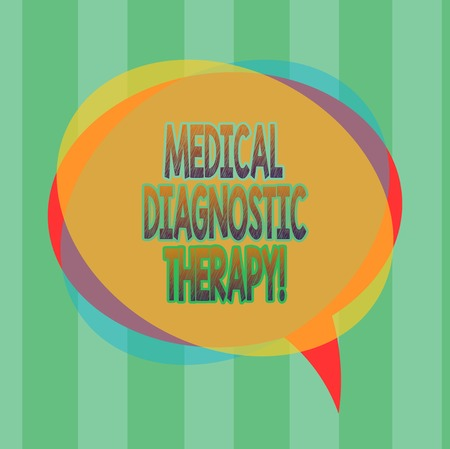 Word writing text Medical Diagnostic Therapy. Business concept for Determining demonstrating is  disease base on symptoms Blank Speech Bubble photo and Stack of Transparent Circle Overlapping Stock Photo - 114480058
