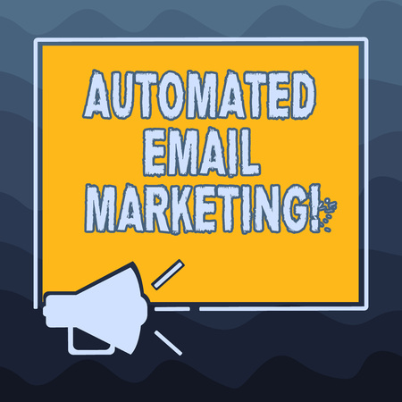 Writing note showing Automated Email Marketing. Business photo showcasing Email sent automatically to list of showing Megaphone Sound icon Outlines Square Loudspeaker Text Space photo