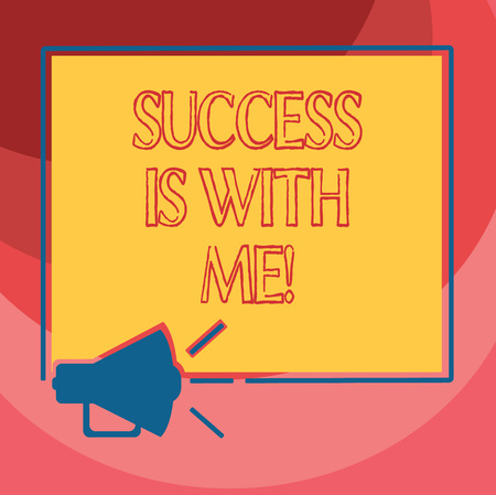 Text sign showing Success Is With Me. Conceptual photo Be optimistic pursue of good results successful Megaphone Sound icon Outlines Blank Square Loudspeaker Text Space photo Stok Fotoğraf - 114483229