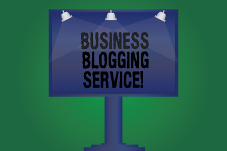 Handwriting text writing Business Blogging Service. Concept meaning publishing shortform content of a business Blank Lamp Lighted Color Signage Outdoor Ads photo Mounted on One Leg