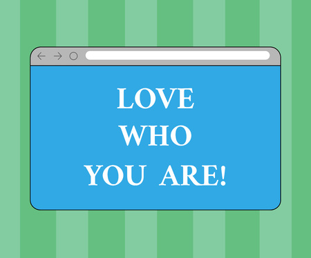 Handwriting text writing Love Who You Are. Concept meaning Expressing roanalysistic feelings and positive emotions Monitor Screen with Forward Backward Progress Control Bar Blank Text Space
