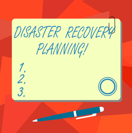 Conceptual hand writing showing Disaster Recovery Planning. Business photo text procedures to recover and protect a business Square Color Board with Magnet Click Ballpoint Pen and Clip
