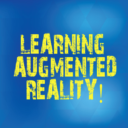 Writing note showing Learning Augmented Reality. Business photo showcasing Environment adapts to the input of learner Blurry Light Flashing Glaring with Diamond Shape on Hazy Blue Space