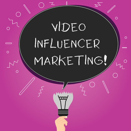 Word writing text Video Influencer Marketing. Business concept for Sponsored content by influencer to promote brand Blank Oval Color Speech Bubble Above a Broken Bulb with Failed Idea icon