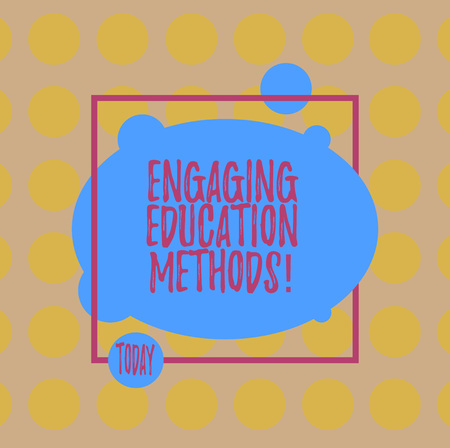 Conceptual hand writing showing Engaging Education Methods. Business photo text Teaching strategies to motivate students Blank Oval photo Abstract Shape inside a Square Outline Stock Photo