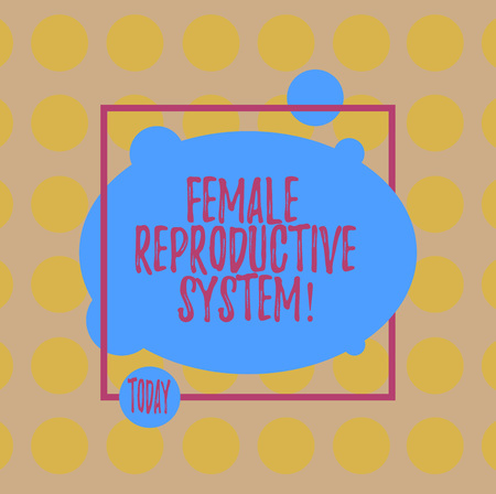 Conceptual hand writing showing Female Reproductive System. Business photo text responsible in reproduction of new offspring Blank Oval photo Abstract Shape inside a Square Outline