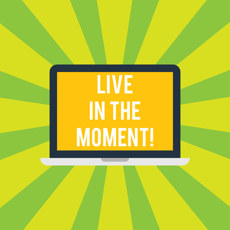 Conceptual hand writing showing Live In The Moment. Business photo showcasing Be inspired motivated enjoy today happy moments Laptop Monitor Personal Computer Tablet Screen Text Space Stock Photo